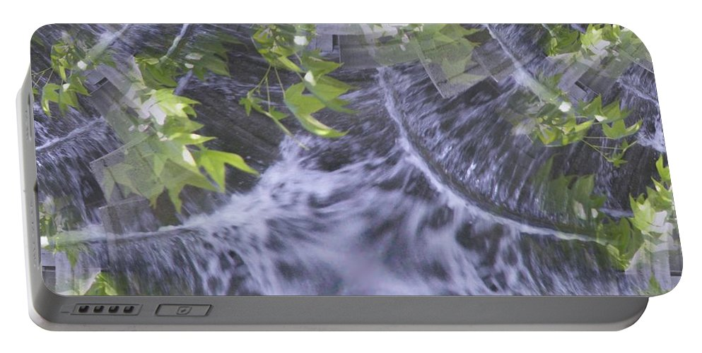 Seattle Portable Battery Charger featuring the digital art Freeway Park Waterfall 2 by Tim Allen