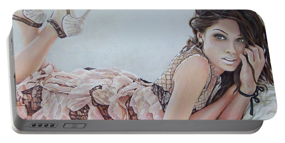 Freid Pinto Portable Battery Charger featuring the painting Freida Pinto by Andy Lloyd