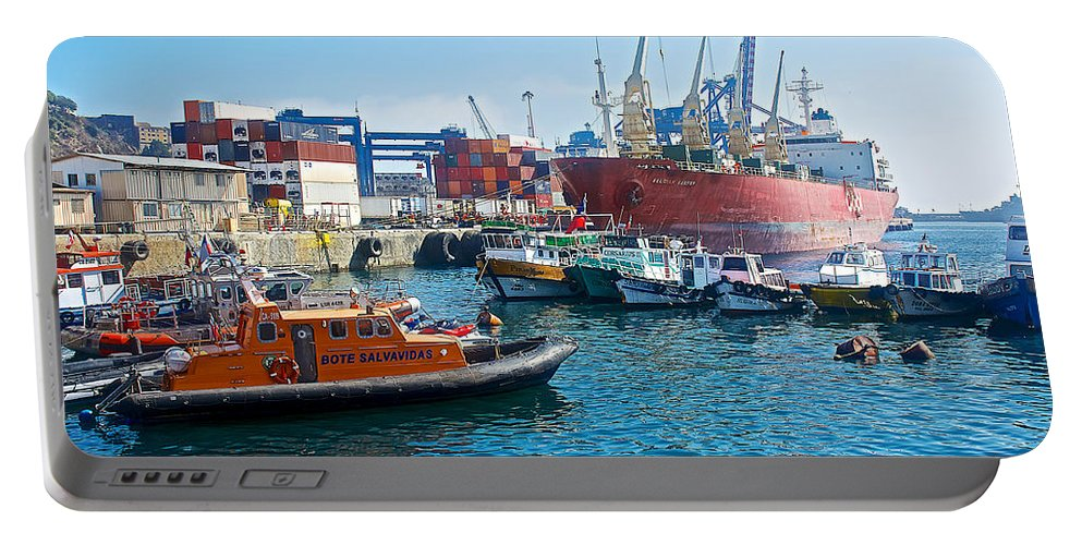 Freighter And Shipping Containers In Port Of Valparaiso Portable Battery Charger featuring the photograph Freighter And Shipping Containers In Port Of Valpaparaiso-chile by Ruth Hager