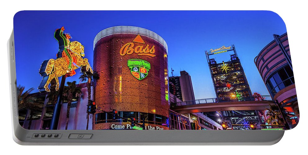 Fremont Street Portable Battery Charger featuring the photograph Fremont Street Entrance From The East At Dusk by Aloha Art