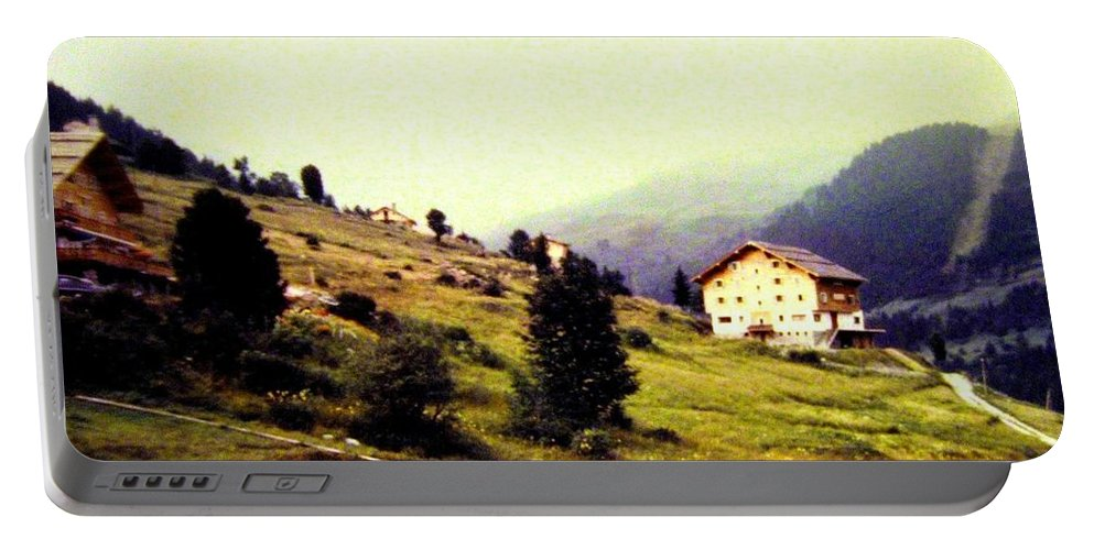 1955 Portable Battery Charger featuring the photograph French Alps 1955 by Will Borden