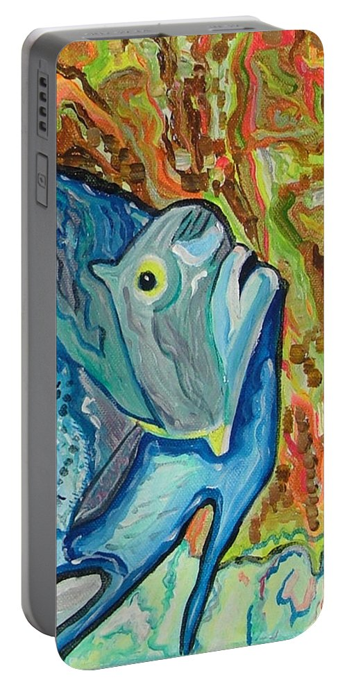 French Portable Battery Charger featuring the painting French Angle Fish by Heather Lennox