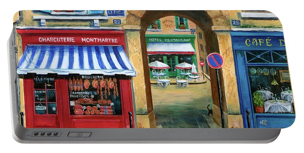 Paris Portable Battery Charger featuring the painting French Butcher Shop by Marilyn Dunlap