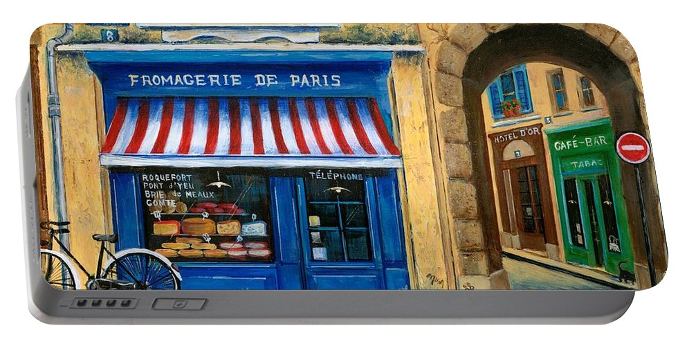 Paris Portable Battery Charger featuring the painting French Cheese Shop by Marilyn Dunlap