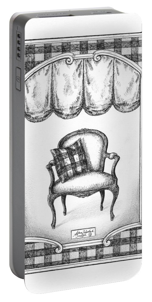 Black Portable Battery Charger featuring the drawing French Country Fauteuil by Adam Zebediah Joseph