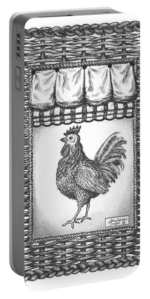 Black Portable Battery Charger featuring the drawing French Country Rooster by Adam Zebediah Joseph