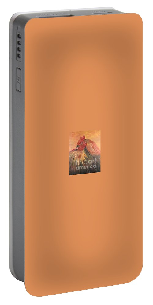 Rooster Portable Battery Charger featuring the painting French Country Rooster by Nadine Rippelmeyer