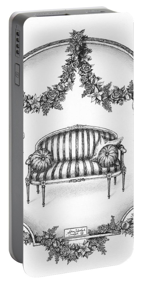 Black Portable Battery Charger featuring the drawing French Country Sofa by Adam Zebediah Joseph