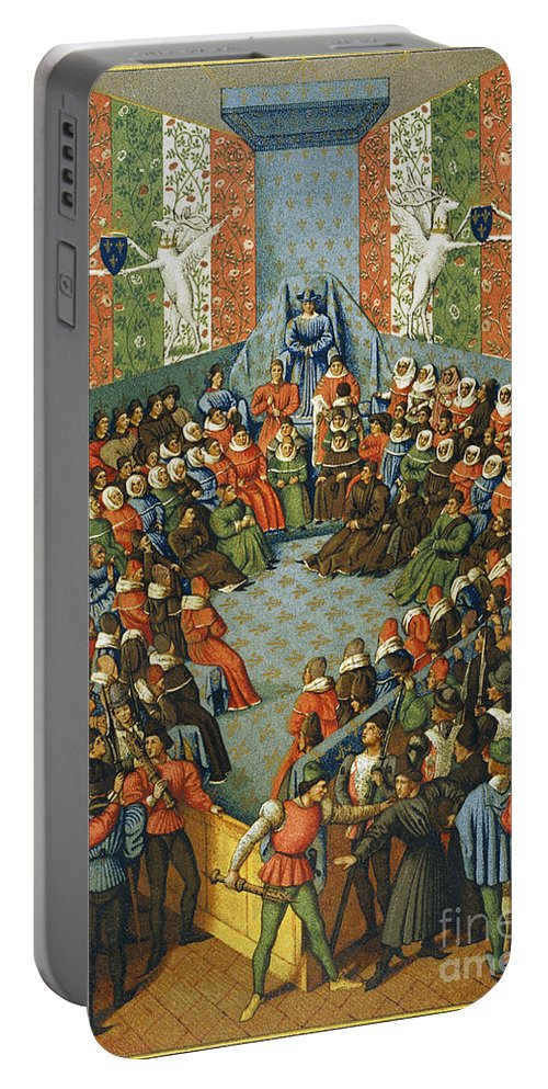 1458 Portable Battery Charger featuring the photograph French Court, 1458 by Granger
