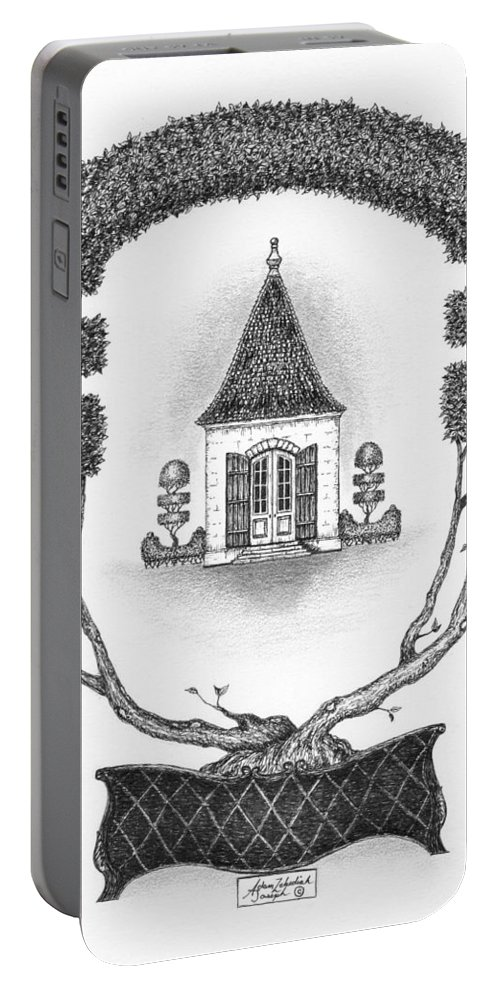 Black Portable Battery Charger featuring the drawing French Garden House by Adam Zebediah Joseph