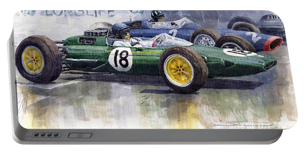Watercolour Portable Battery Charger featuring the painting French Gp 1963 Start Lotus Vs Brm by Yuriy Shevchuk