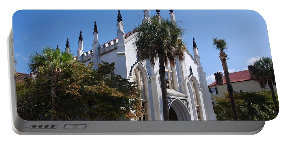 Photography Portable Battery Charger featuring the photograph French Huguenot Church In Charleston by Susanne Van Hulst