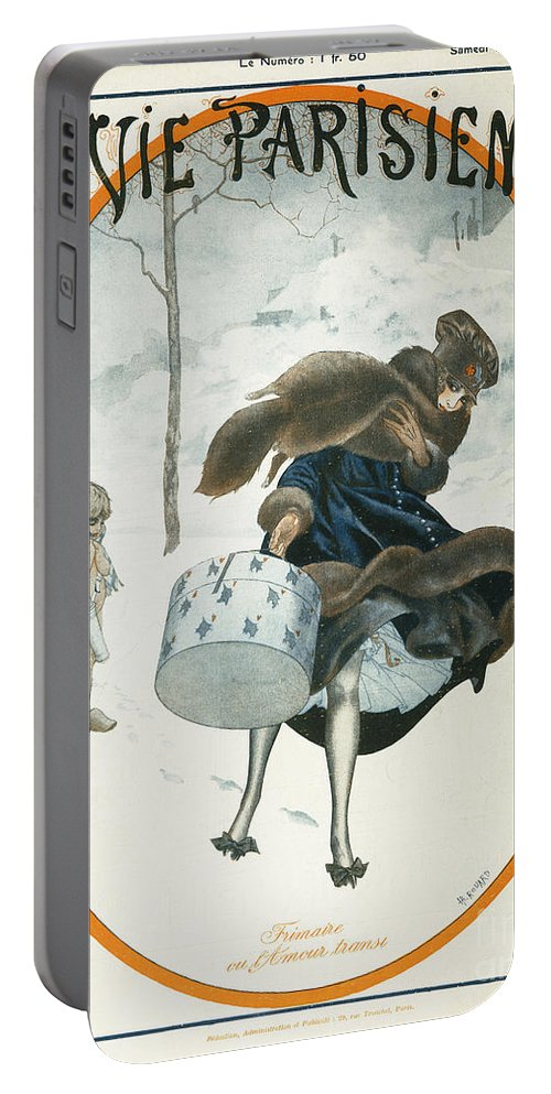 1921 Portable Battery Charger featuring the painting French Magazine Cover by Granger