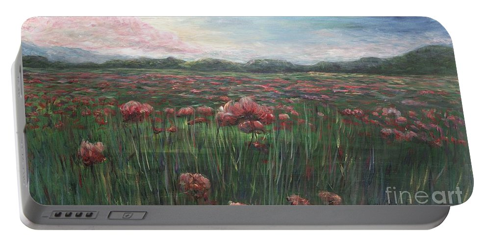 France Portable Battery Charger featuring the painting French Poppies by Nadine Rippelmeyer