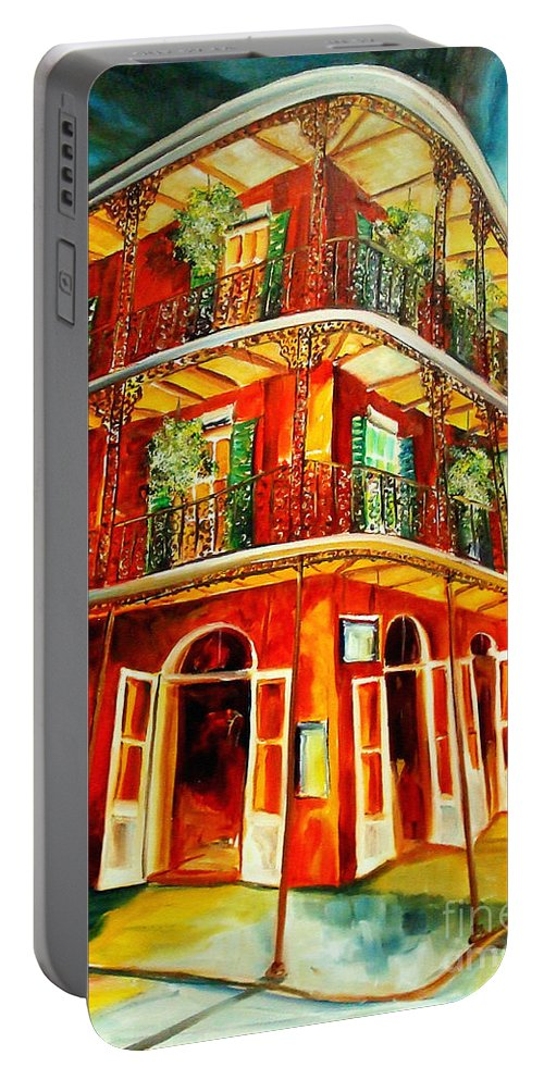 New Orleans Portable Battery Charger featuring the painting French Quarter Corner by Diane Millsap