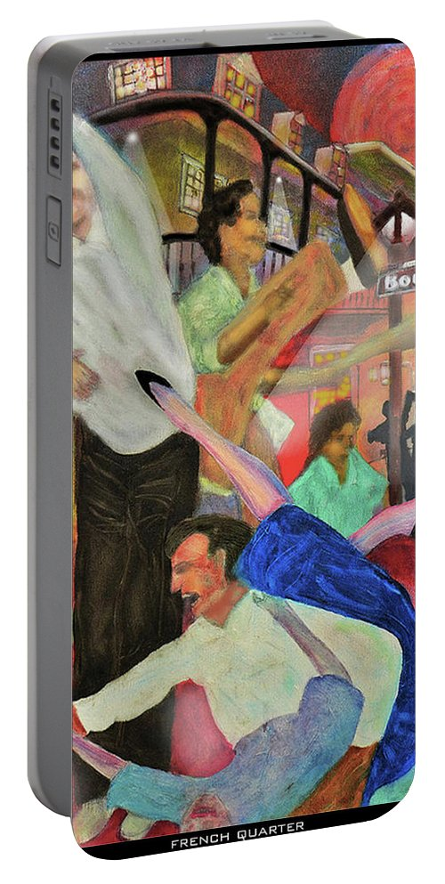 Quarter Portable Battery Charger featuring the painting French Quarter by Larry Rice
