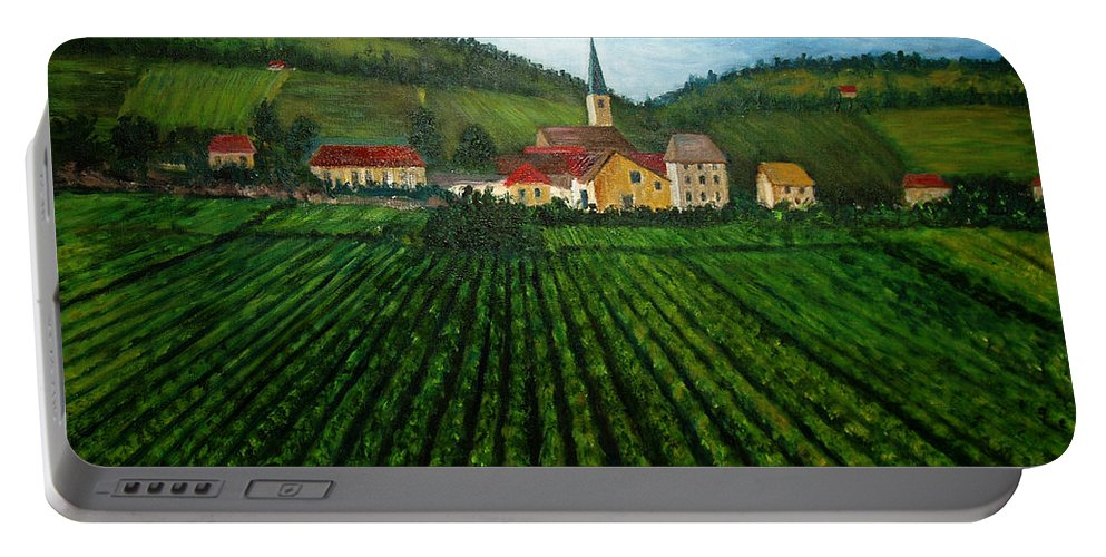 Acrylic Portable Battery Charger featuring the painting French Village In The Vineyards by Nancy Mueller