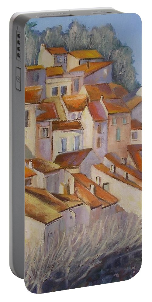 Rural Painting Portable Battery Charger featuring the painting French Villlage Painting by Chris Hobel