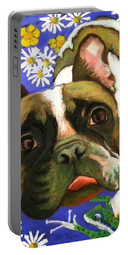 Pet Portrait Portable Battery Charger featuring the painting Frenchie Plays With Frogs by Minaz Jantz