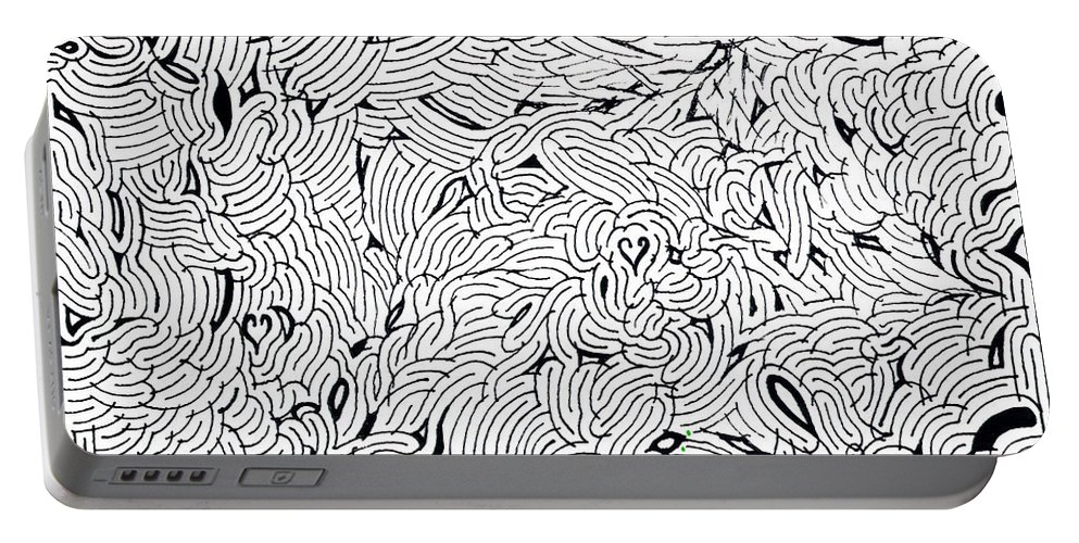 Mazes Portable Battery Charger featuring the drawing Frenzy by Steven Natanson