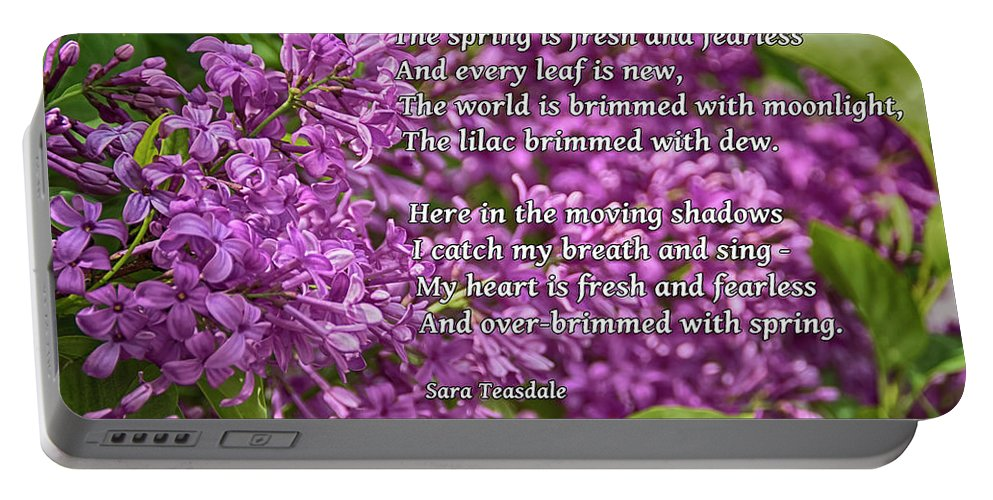 Lilac Portable Battery Charger featuring the photograph Fresh And Fearless by Janice Pariza