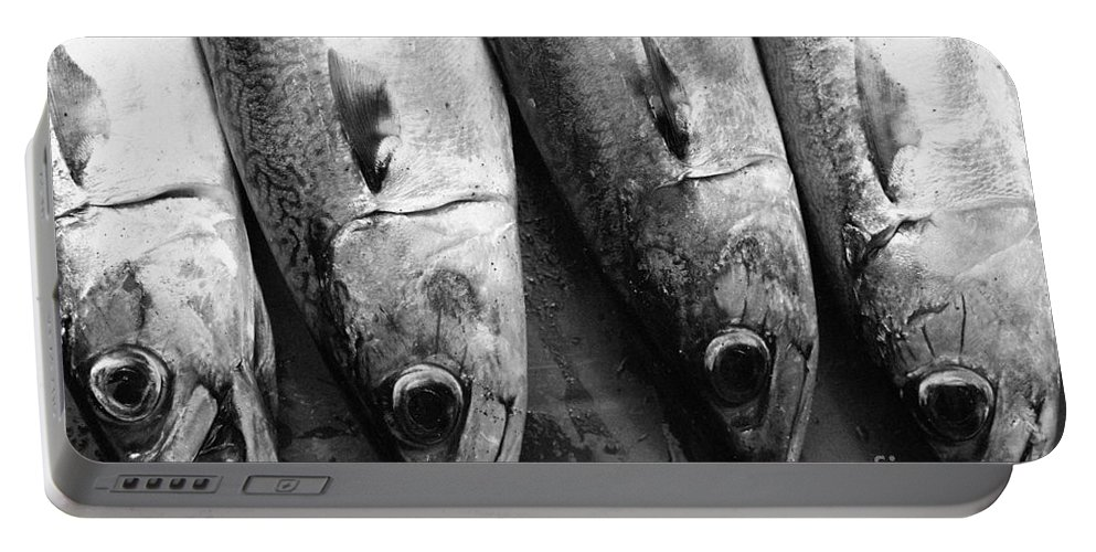 Black And White Portable Battery Charger featuring the photograph Fresh Catch by Gaspar Avila