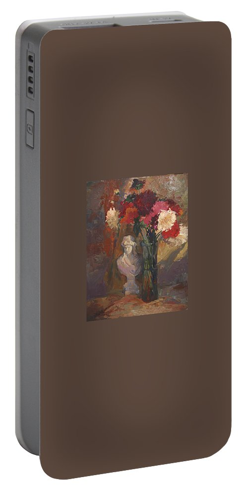 Still Life Portable Battery Charger featuring the painting Fresh Cut by Betty Jean Billups