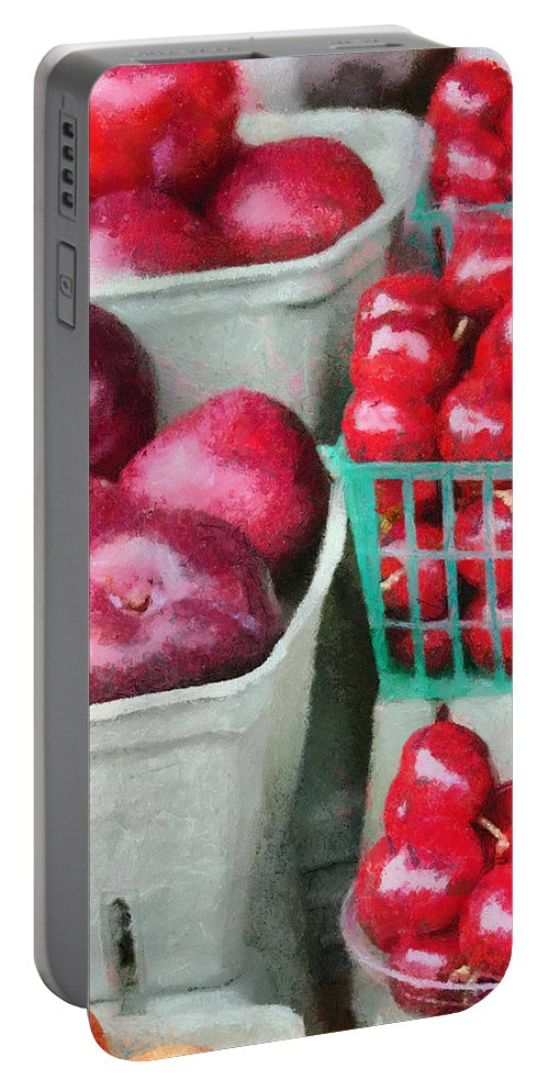 Apple Portable Battery Charger featuring the painting Fresh Market Fruit by Jeffrey Kolker