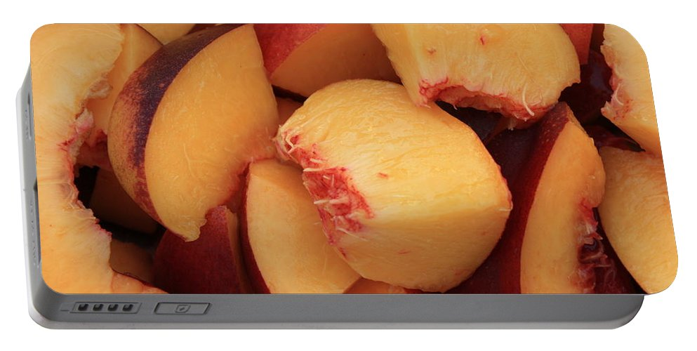 Peaches Portable Battery Charger featuring the photograph Fresh Peaches by Carol Groenen