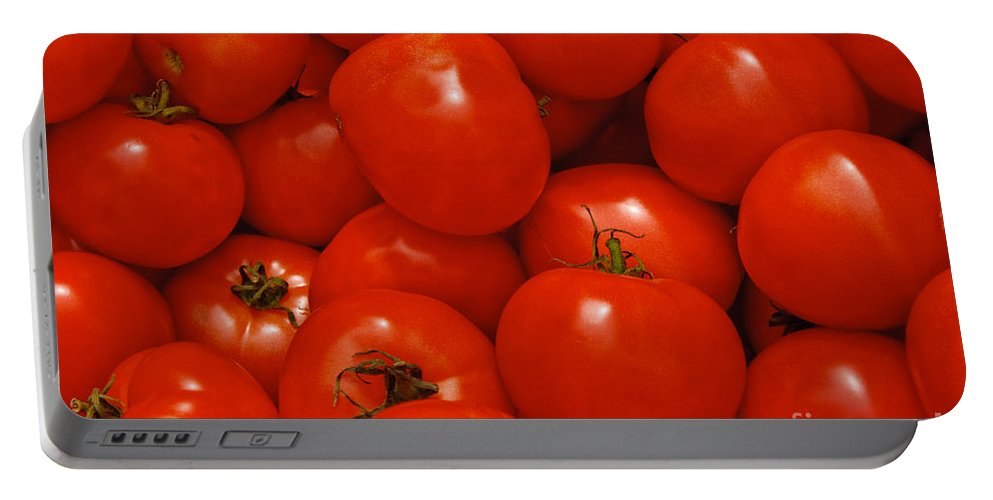 Tomato Portable Battery Charger featuring the photograph Fresh Red Tomatoes by Thomas Marchessault