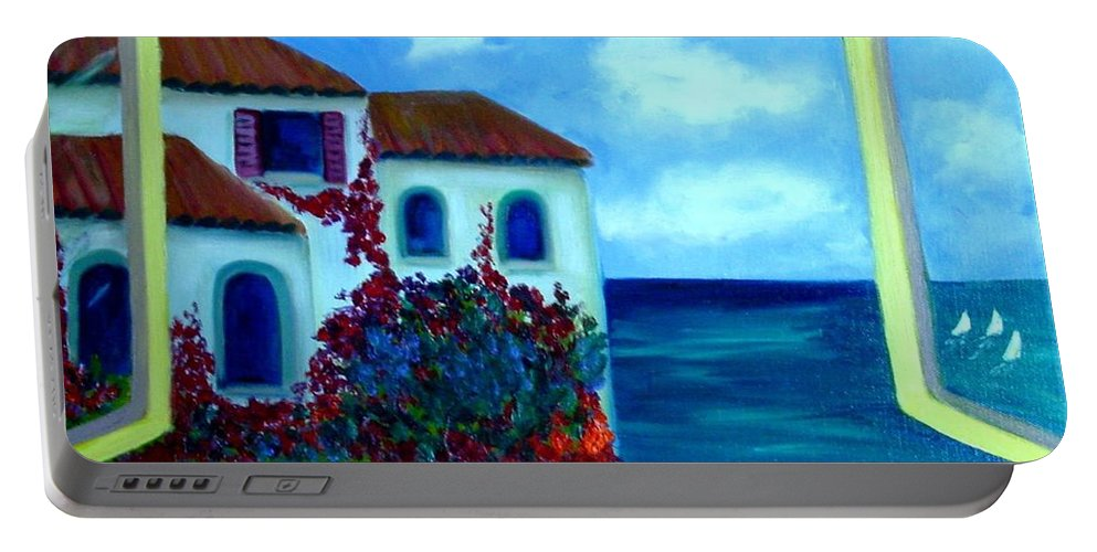Seascape Portable Battery Charger featuring the painting Fresh Sea Air by Laurie Morgan