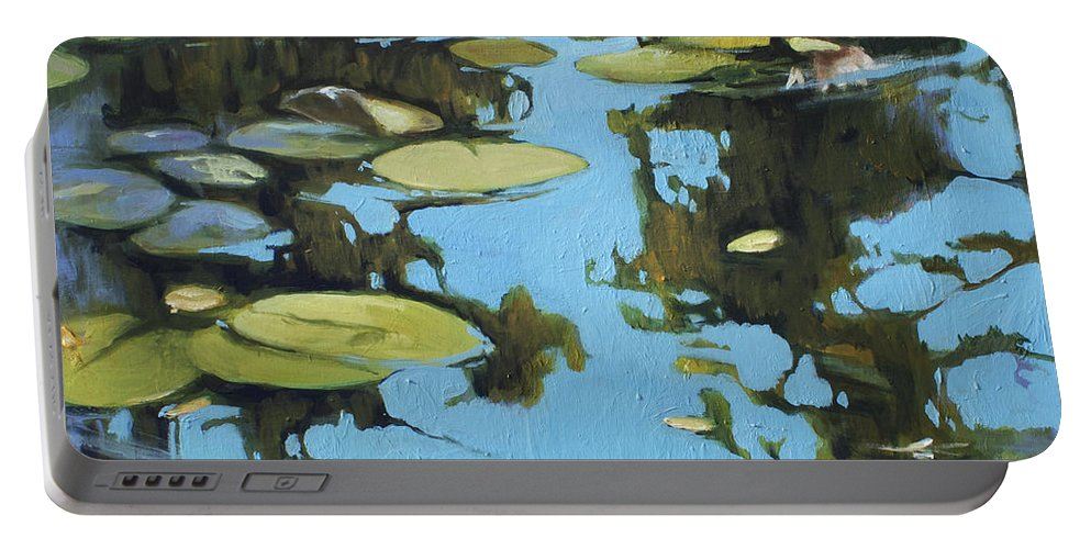 Lin Petershagen Portable Battery Charger featuring the painting Fresh Water by Lin Petershagen
