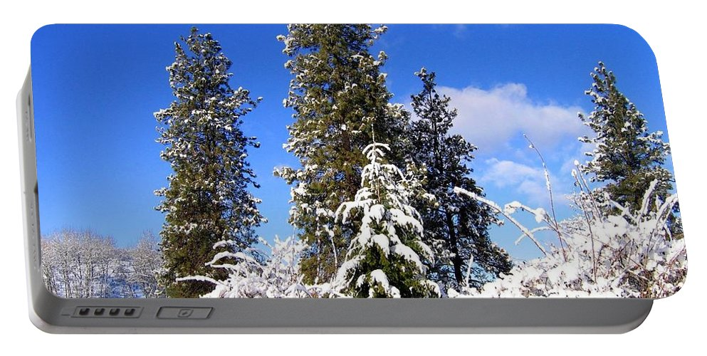 #freshwintersolitude Portable Battery Charger featuring the photograph Fresh Winter Solitude by Will Borden