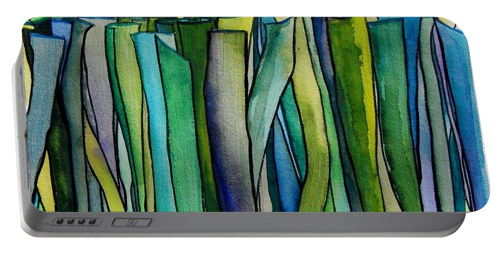 Freshly Mown Grass Raindrop Descending Portable Battery Charger featuring the painting Freshly Mown Grass Raindrop Descending by Expressionistart studio Priscilla Batzell