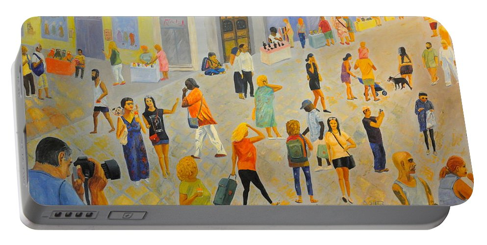 People Portable Battery Charger featuring the painting Friday In Tel Aviv by Asher Topel