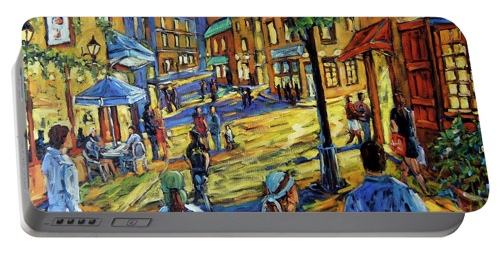 Art Portable Battery Charger featuring the painting Friday Night Walk Prankearts Fine Arts by Richard T Pranke