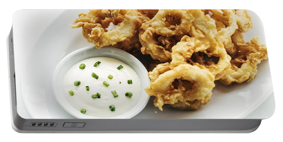 Aioli Portable Battery Charger featuring the photograph Fried Calamari Squid Rings With Aioli Garlic Sauce by Jacek Malipan
