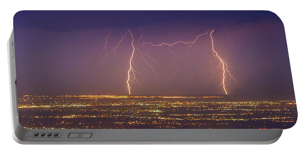 Lightening Portable Battery Charger featuring the photograph Friendly Bolts by Rockin' Media