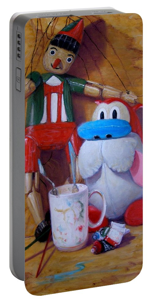 Realism Portable Battery Charger featuring the painting Friends 2 - Pinocchio And Stimpy  by Donelli DiMaria