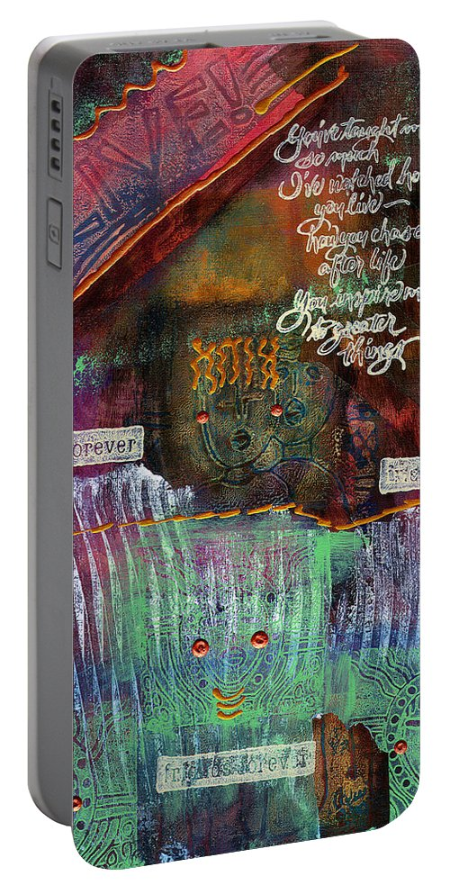 Friends Portable Battery Charger featuring the mixed media Friends Forever by Angela L Walker