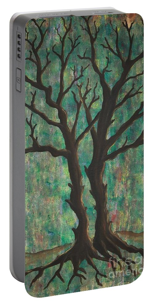 Trees Portable Battery Charger featuring the painting Friends by Jacqueline Athmann