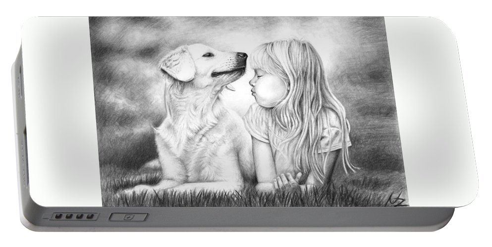 Dog Portable Battery Charger featuring the drawing Friends by Nicole Zeug