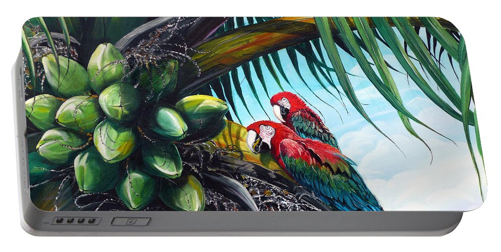 Macaws Bird Painting Coconut Palm Tree Painting Parrots Caribbean Painting Tropical Painting Coconuts Painting Palm Tree Greeting Card Painting Portable Battery Charger featuring the painting Friends Of A Feather by Karin Dawn Kelshall- Best