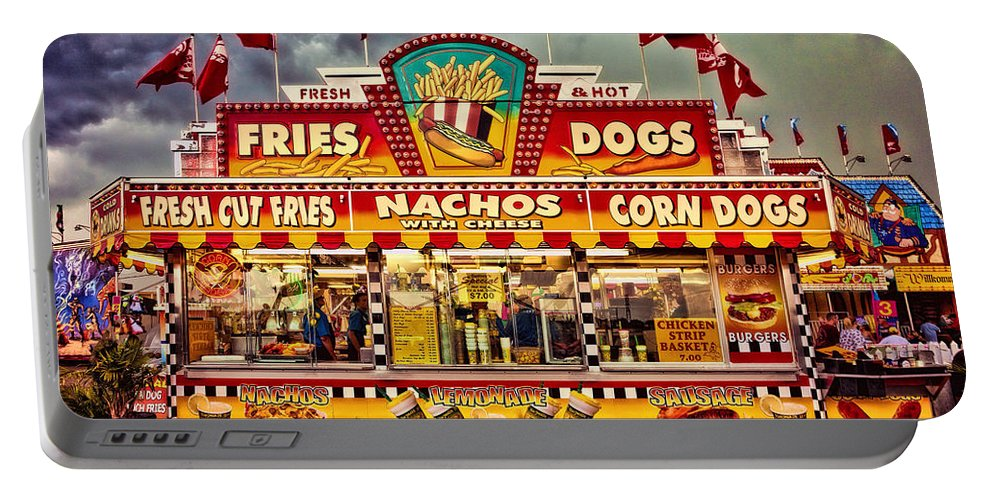 Carnival Portable Battery Charger featuring the photograph Fries Nachos Dogs by Diana Powell