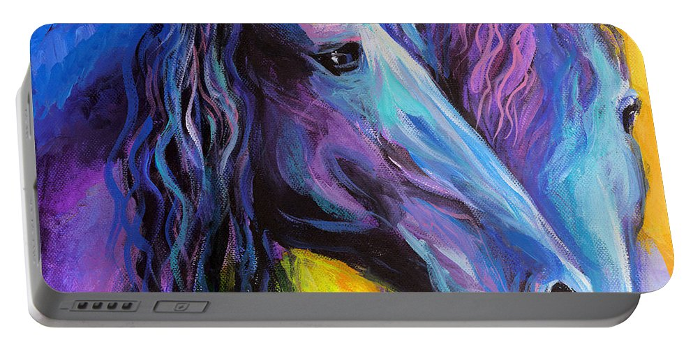 Contemporary Friesian Horse Painting Portable Battery Charger featuring the painting Friesian Horses Painting by Svetlana Novikova