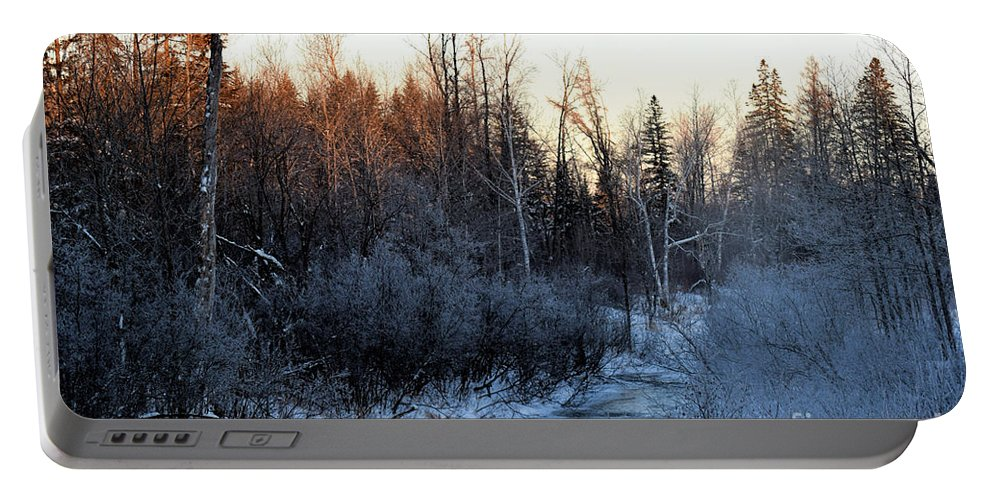 Brook Portable Battery Charger featuring the photograph Frigid Sunrise by William Tasker