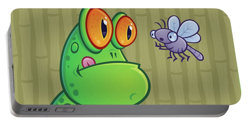 Frog Portable Battery Charger featuring the digital art Frog And Dragonfly by John Schwegel