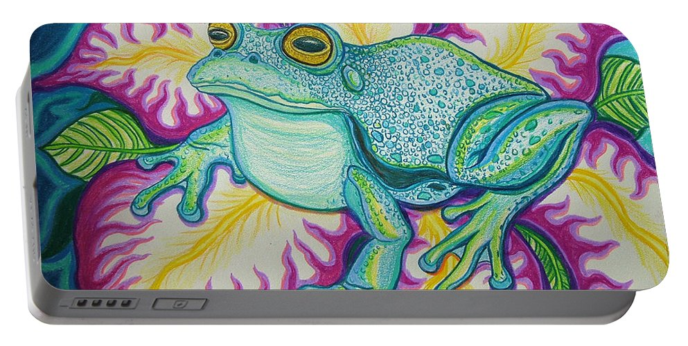 Frog And Flower Art Portable Battery Charger featuring the drawing Frog And Flower by Nick Gustafson