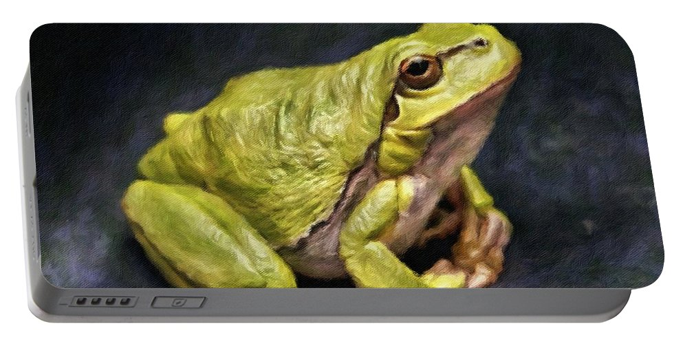 Frog Portable Battery Charger featuring the painting Frog - Id 16236-105016-7750 by S Lurk