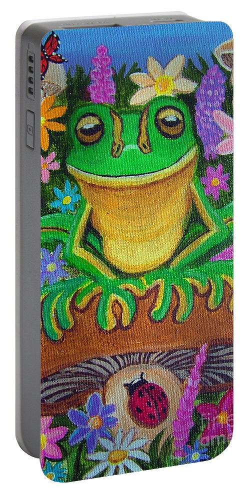 Frog Artwork Frog Painting Whimsical Artwork Green Frogs Portable Battery Charger featuring the painting Frog On Mushroom by Nick Gustafson